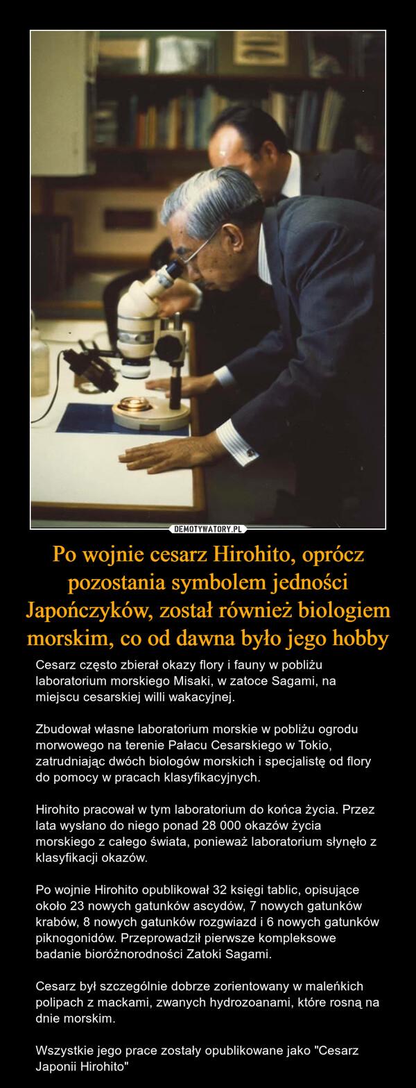 """Po wojnie cesarz Hirohito, oprócz pozostania symbolem jedności Japończyków, został również biologiem morskim, co od dawna było jego hobby – Cesarz często zbierał okazy flory i fauny w pobliżu laboratorium morskiego Misaki, w zatoce Sagami, na miejscu cesarskiej willi wakacyjnej.Zbudował własne laboratorium morskie w pobliżu ogrodu morwowego na terenie Pałacu Cesarskiego w Tokio, zatrudniając dwóch biologów morskich i specjalistę od flory do pomocy w pracach klasyfikacyjnych.Hirohito pracował w tym laboratorium do końca życia. Przez lata wysłano do niego ponad 28 000 okazów życia morskiego z całego świata, ponieważ laboratorium słynęło z klasyfikacji okazów.Po wojnie Hirohito opublikował 32 księgi tablic, opisujące około 23 nowych gatunków ascydów, 7 nowych gatunków krabów, 8 nowych gatunków rozgwiazd i 6 nowych gatunków piknogonidów. Przeprowadził pierwsze kompleksowe badanie bioróżnorodności Zatoki Sagami.Cesarz był szczególnie dobrze zorientowany w maleńkich polipach z mackami, zwanych hydrozoanami, które rosną na dnie morskim.Wszystkie jego prace zostały opublikowane jako """"Cesarz Japonii Hirohito"""""""