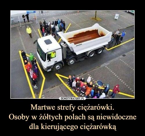 Martwe strefy ciężarówki. Osoby w żółtych polach są niewidoczne dla kierującego ciężarówką