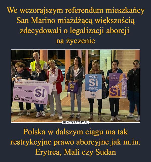 Polska w dalszym ciągu ma tak restrykcyjne prawo aborcyjne jak m.in. Erytrea, Mali czy Sudan –