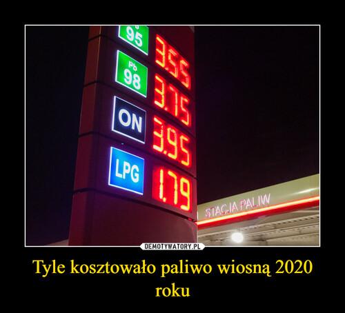 Tyle kosztowało paliwo wiosną 2020 roku