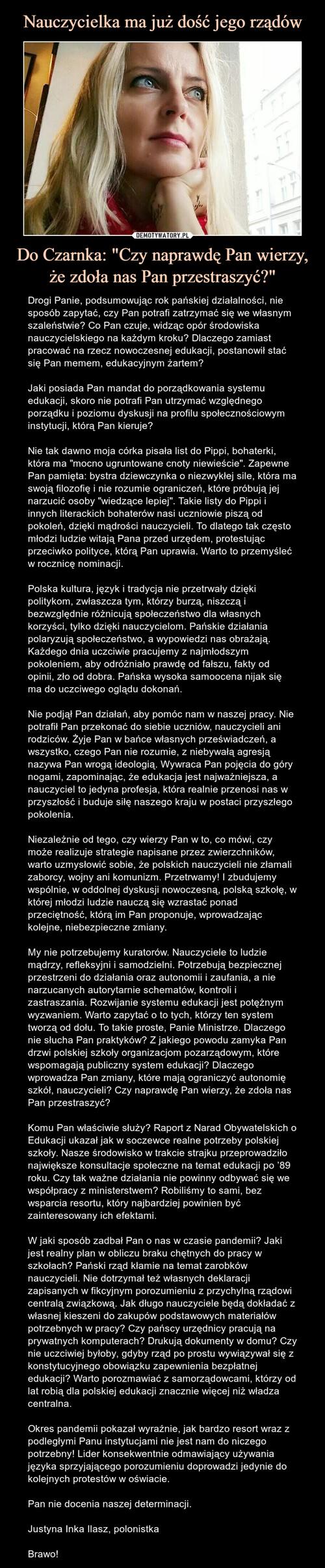 """Nauczycielka ma już dość jego rządów Do Czarnka: """"Czy naprawdę Pan wierzy, że zdoła nas Pan przestraszyć?"""""""